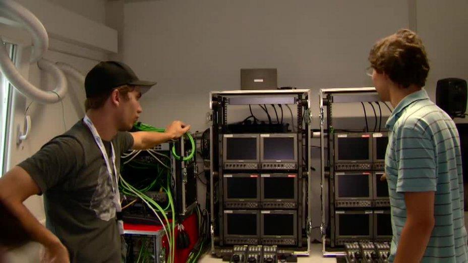 Aufbau TV Produktion KanuTube bei der Kanu WM 2013 in Duisburg